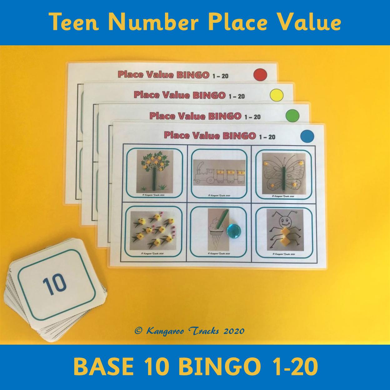Number Bingo 1 20 Kindergarten 1st Grade Place Value