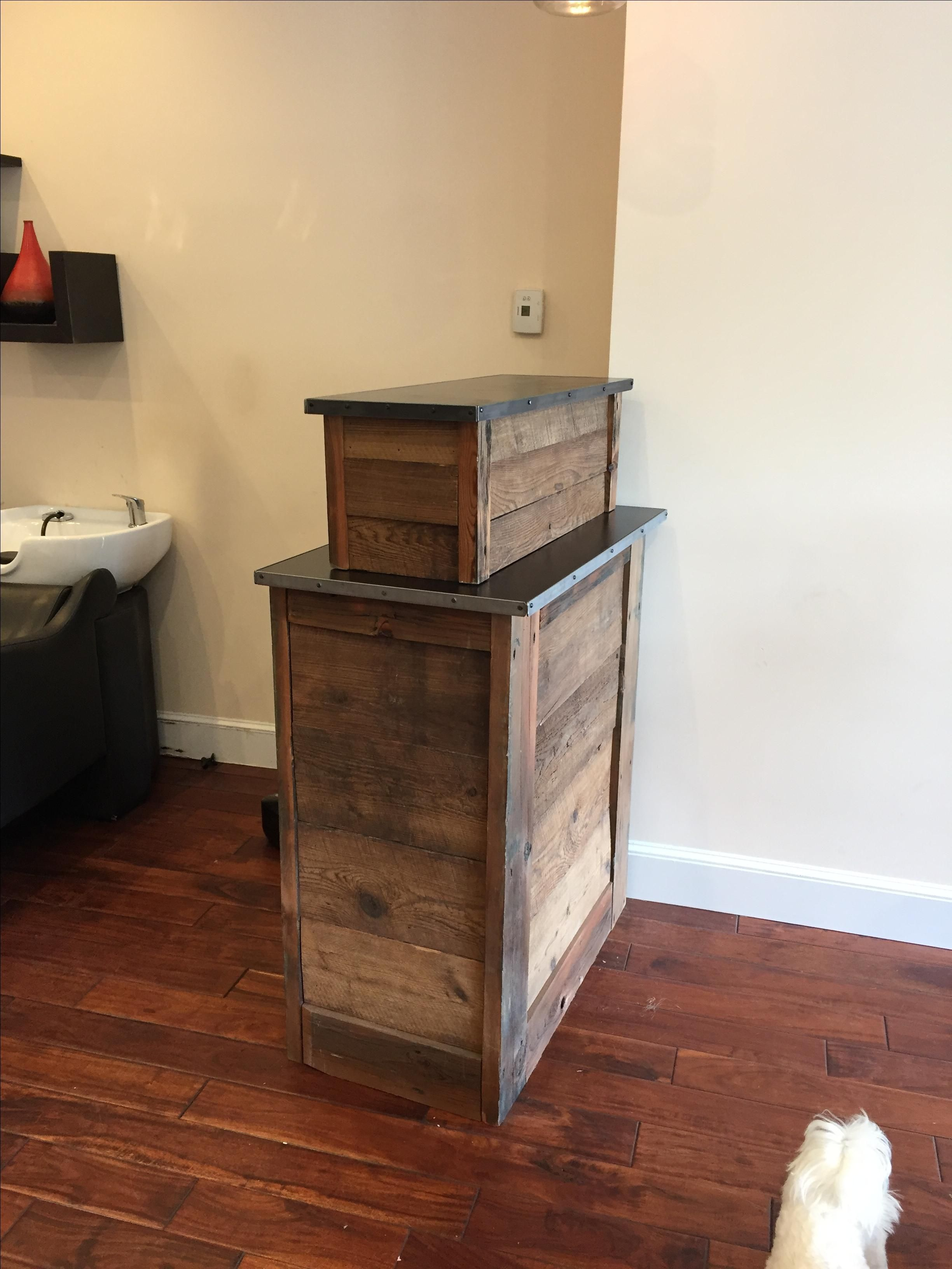 Custom Made Small Barn Wood Salon Reception Desk Salon Reception