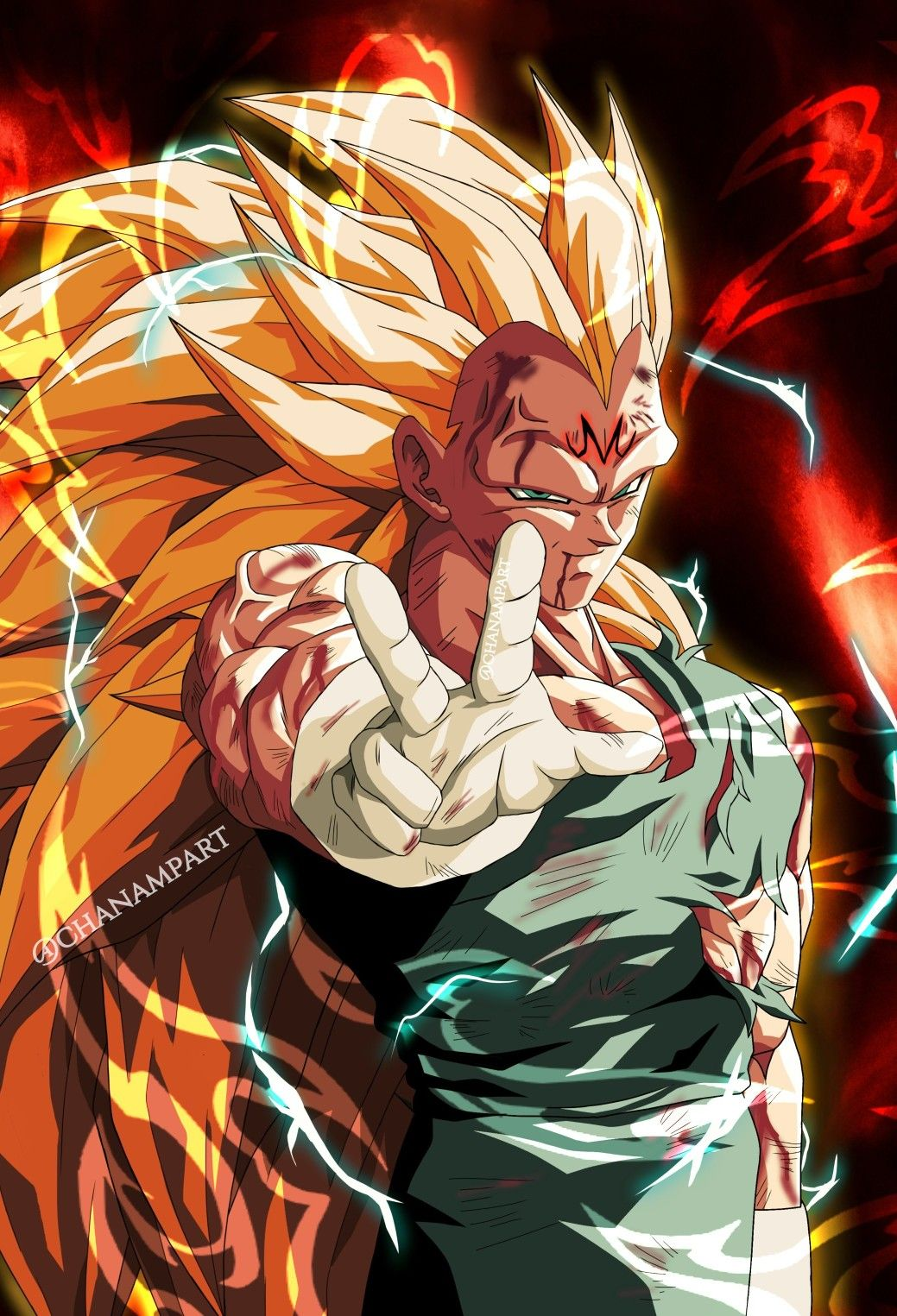 Majin Vegeta Ssj 3 By Chanampart In 2020 Dragon Ball Super Manga Anime Dragon Ball Super Dragon Ball Painting