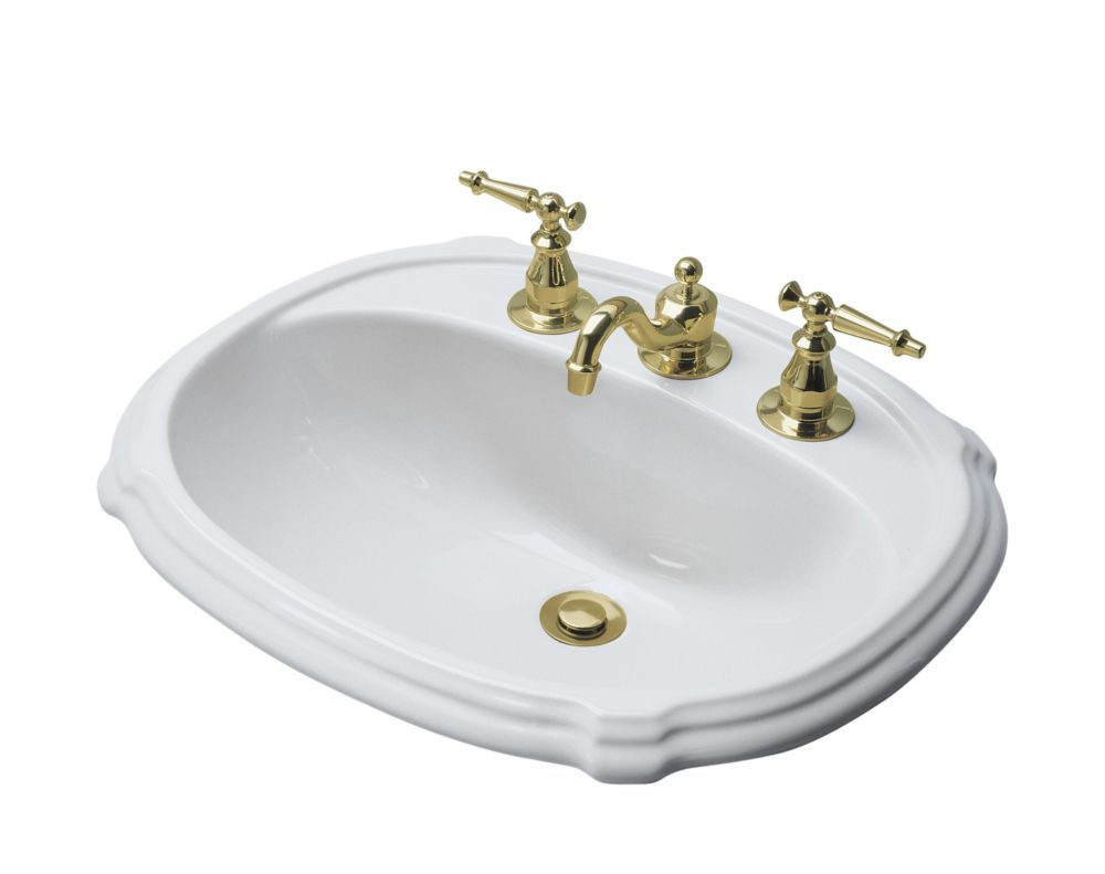 Portrait R Drop In Bathroom Sink With 4 Inch Centerset Faucet