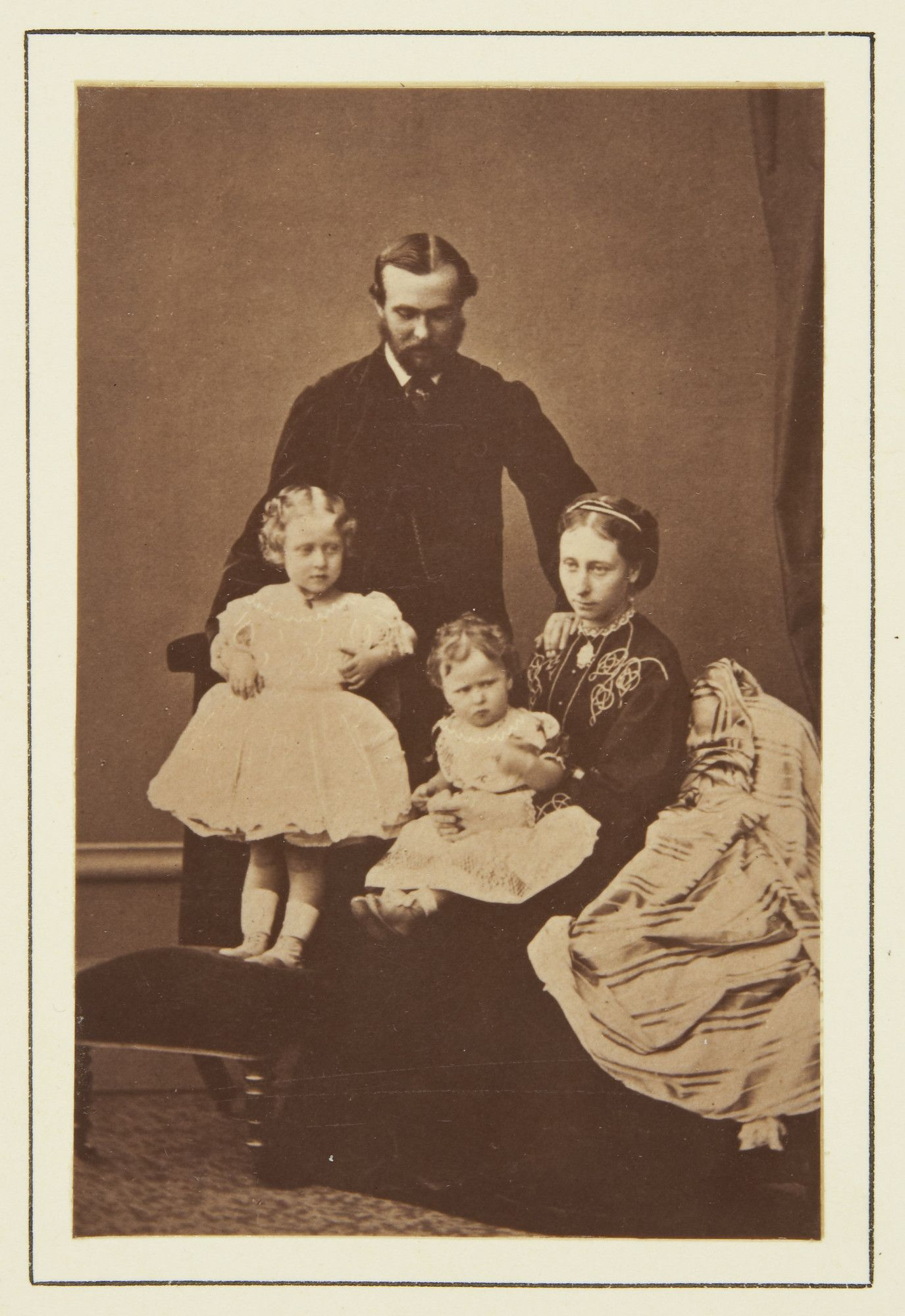 Prince and Princess Louis of Hesse with their children, Princess Victoria and Princess Elizabeth, 1865 [in Portraits of Royal Children Vol.9...