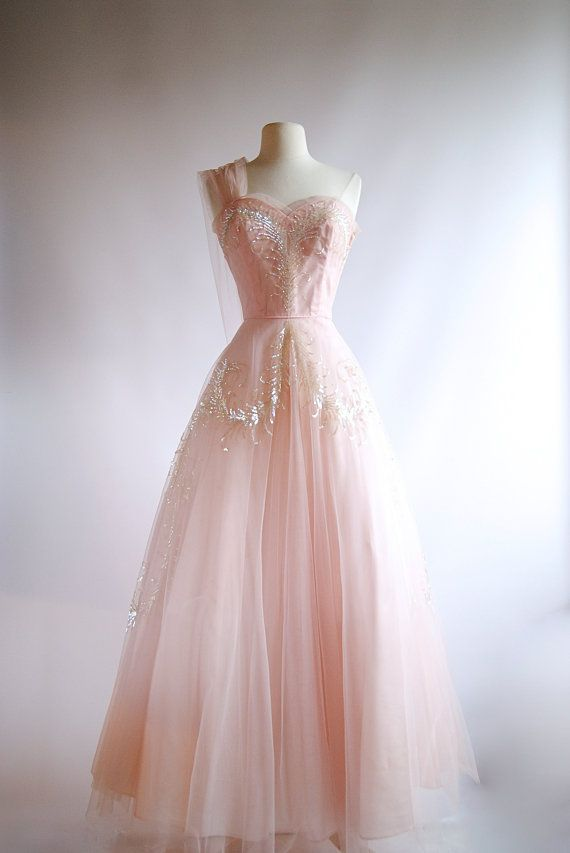 1950s Pink Tulle Evening Gown ~ Vintage 50s Pink Prom Dress ~ Xtabay ...