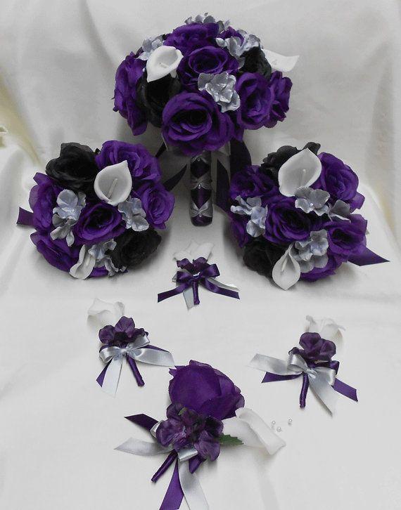 Wedding Silk Flower Bridal Bouquets Package Calla Lily Black Purple ...