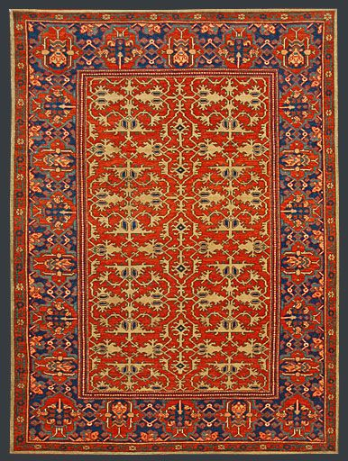 New UŞAK 'Lotto' rug.  A recent copy of a 17th century design.  Wool on wool, natural dyes, 140 x 185.5 cm.