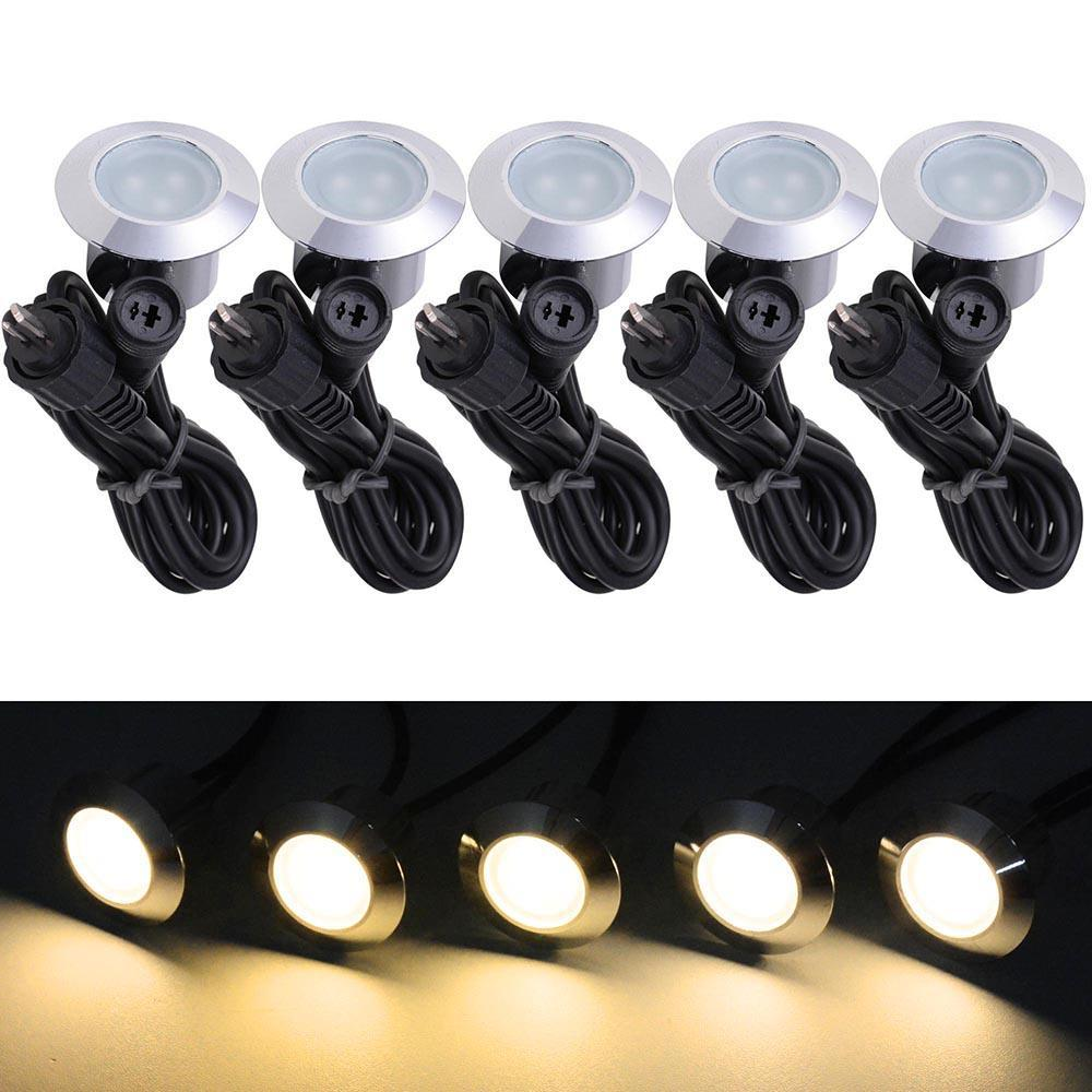 Thediyoutlet 5 Pack 12v Round Recessed Deck Step Light Warm White Step Lighting Deck Step Lights Deck Steps