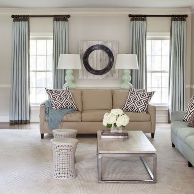 Tan Couch Family Room Design Ideas Pictures Remodel And Decor Contemporary Family Rooms Living Room Windows Curtains Living Room