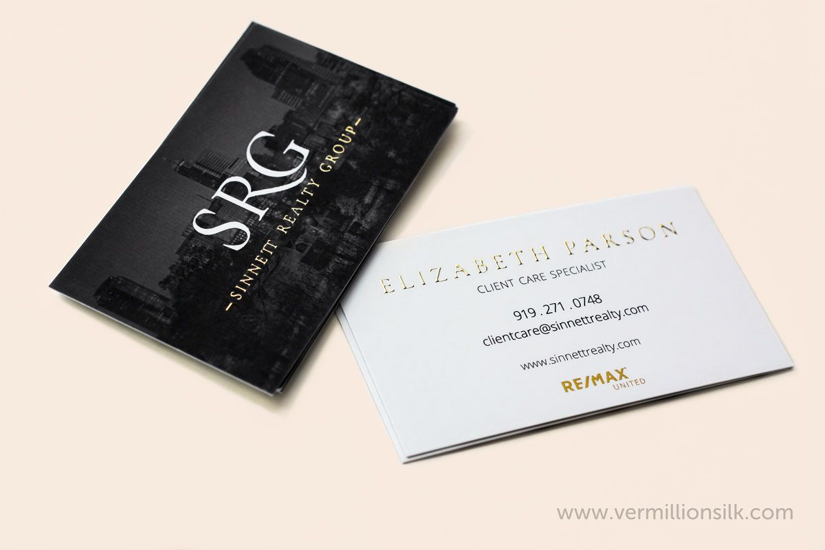 Raised Gold Foil Business Cards For Sinnett Realty Printed By Vermillion Silk Unique Business Cards Inspiration Foil Business Cards Gold Foil Business Cards