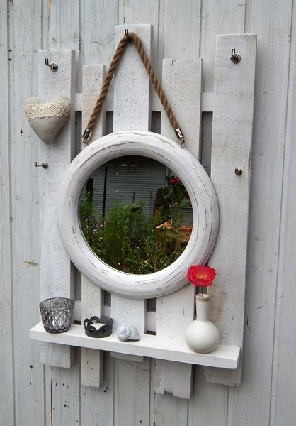 spiegel h ngeregal lamemo shabby chic vintage von lamemo auf einfach nur sch n. Black Bedroom Furniture Sets. Home Design Ideas