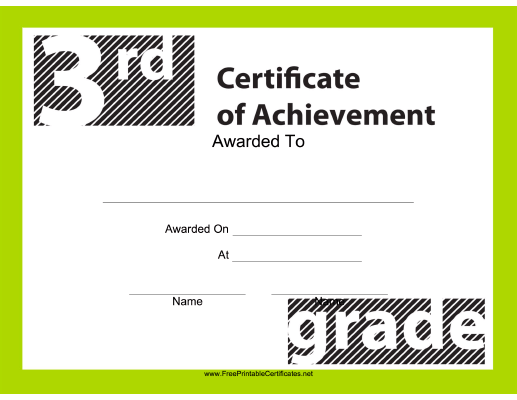 Teachers And Students Will Enjoy This Free, Printable Certificate Of  Achievement For The 3rd Grade  Free Achievement Certificates