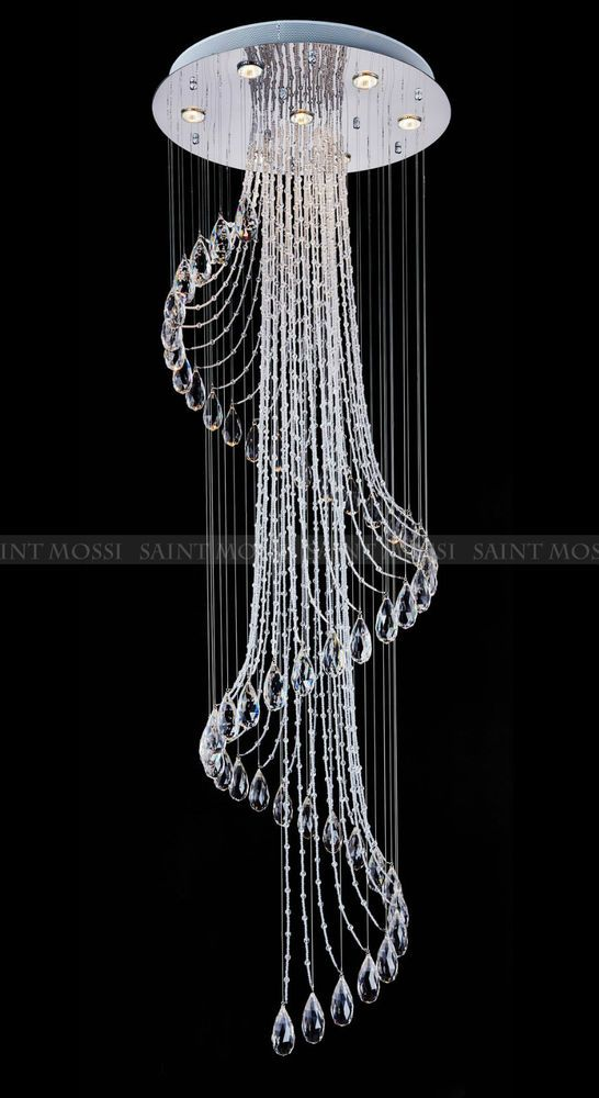 Saint mossi modern crystal chandelier droplets lights flush ceiling modern crystal chandelier led rain drops droplets lights flush ceiling pendant mozeypictures Choice Image