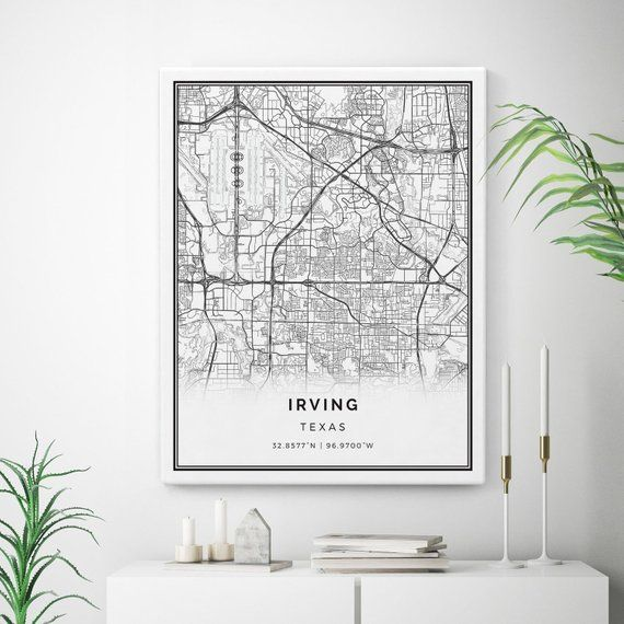 Irving Map Canvas Print, City Maps Wall Art, Texas Gift ...