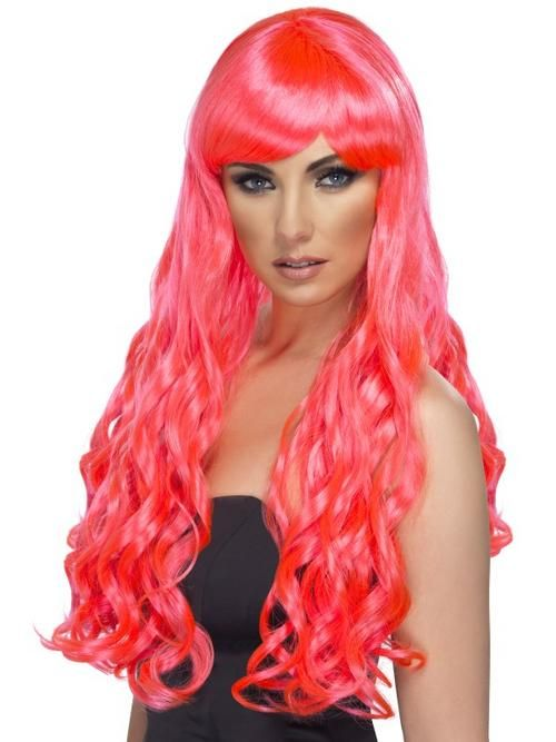 FANCY DRESS LADIES DESIRE GLAM WIG FUCHSHIA PINK LONG CURLY WIG WITH FRINGE