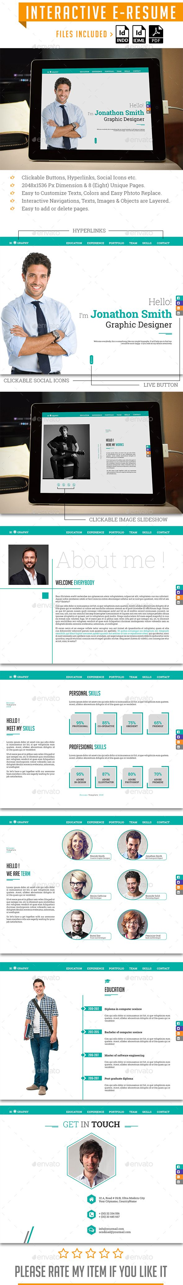 Interactive EResume Indesign resume template, Ebook