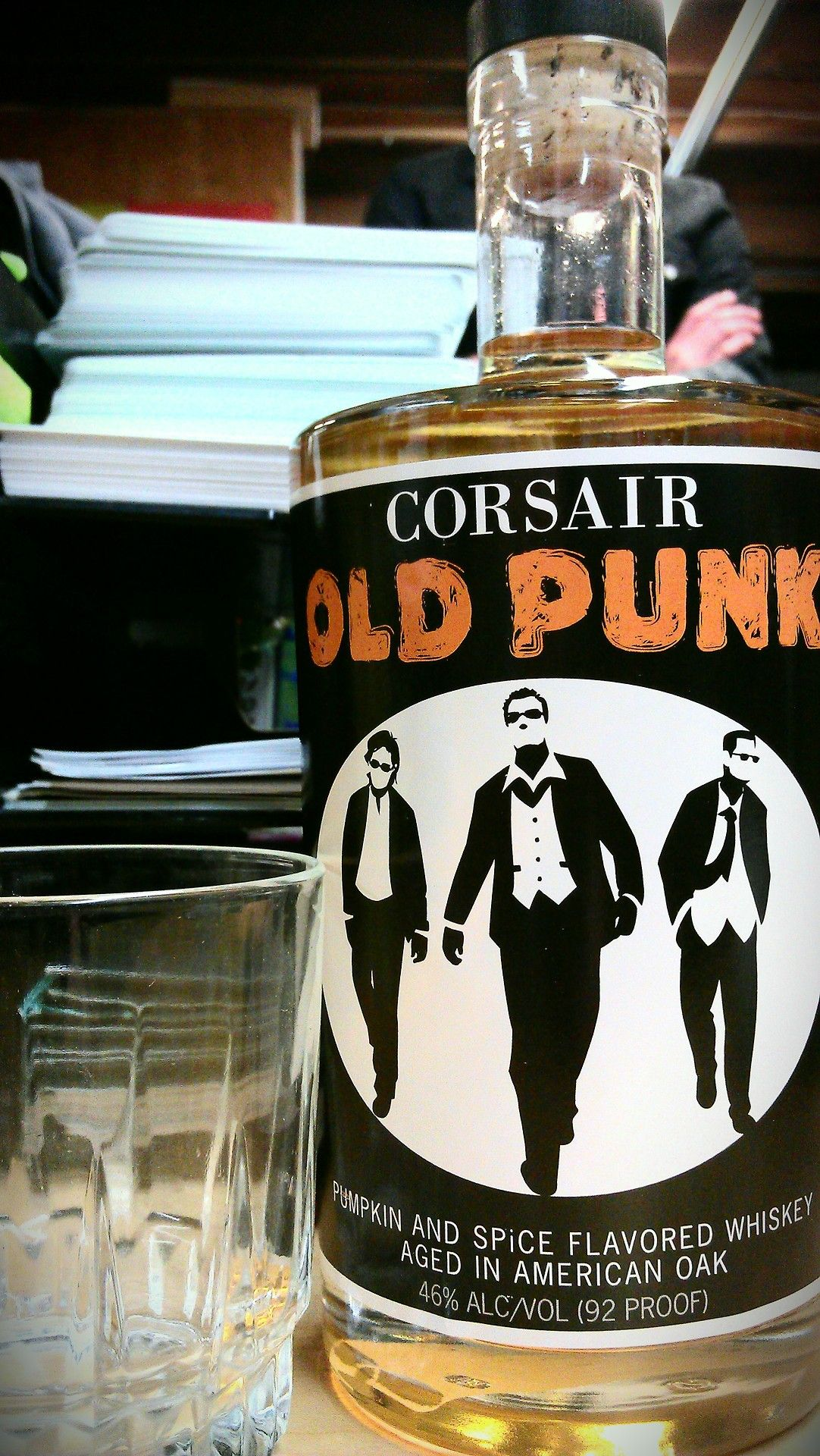 Corsair Old Punk Pumpkin and Spice Flavored Whiskey Confession time. You know how folks go wacky with excitement over pumpkin lattes and pumpkin everything every October? I don't get it. There are a couple pumpkin beers I enjoy but most of them and all the espresso drinks taste really grossly synthetic. So, I braced myself for that but what I got was something entirely surprising. It's pumpkin and spice, yes, but it's not astringent or unpleasant. It's actually quite tasty. More whiskey than…
