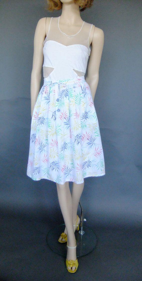 70s vintage skirt pleated skirt white skirt retro by vintage2049
