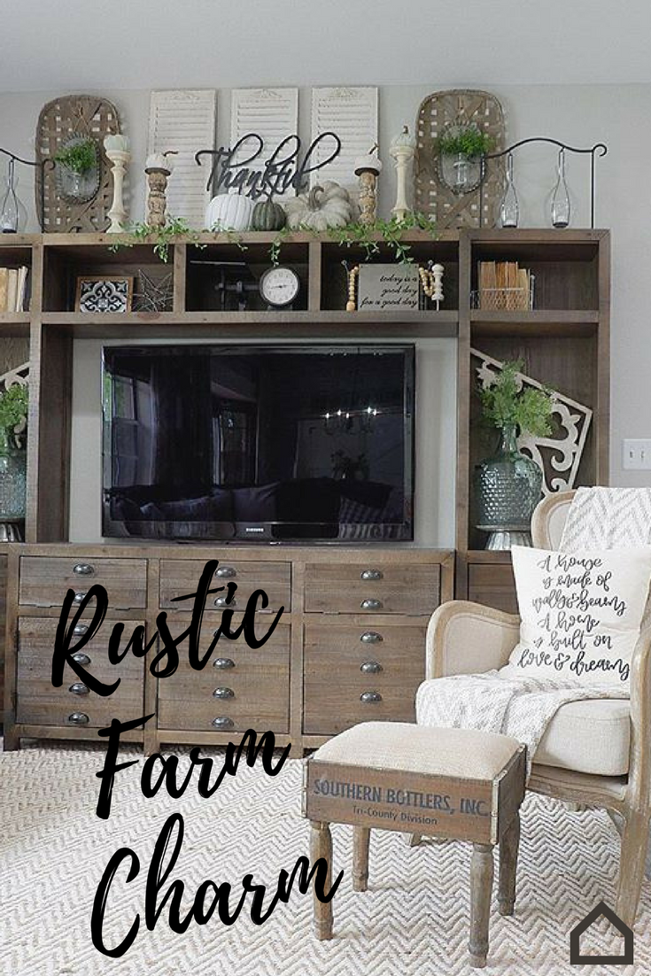 Add Rustic Farm Charm To Your Living Room With The Keeblen Entertainment Center This Piece Will Add Eclectic Cha Farm House Living Room Home Living Room Home