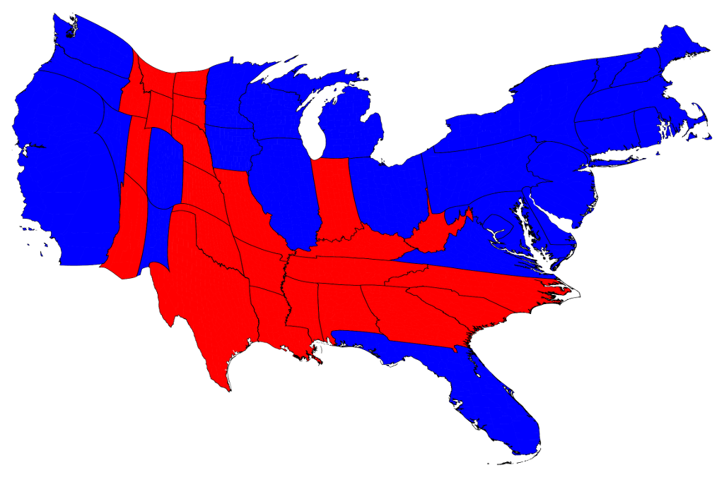 2012 election results cartogram by electoral votes that is each