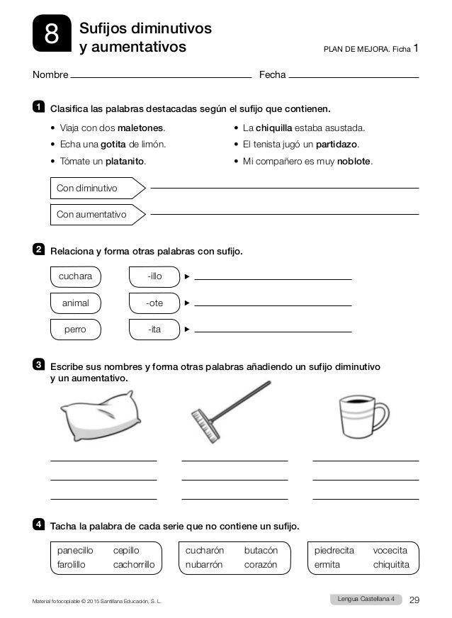 Resultado de imagen de ejercicios lengua 4 primaria aumentativos y ...