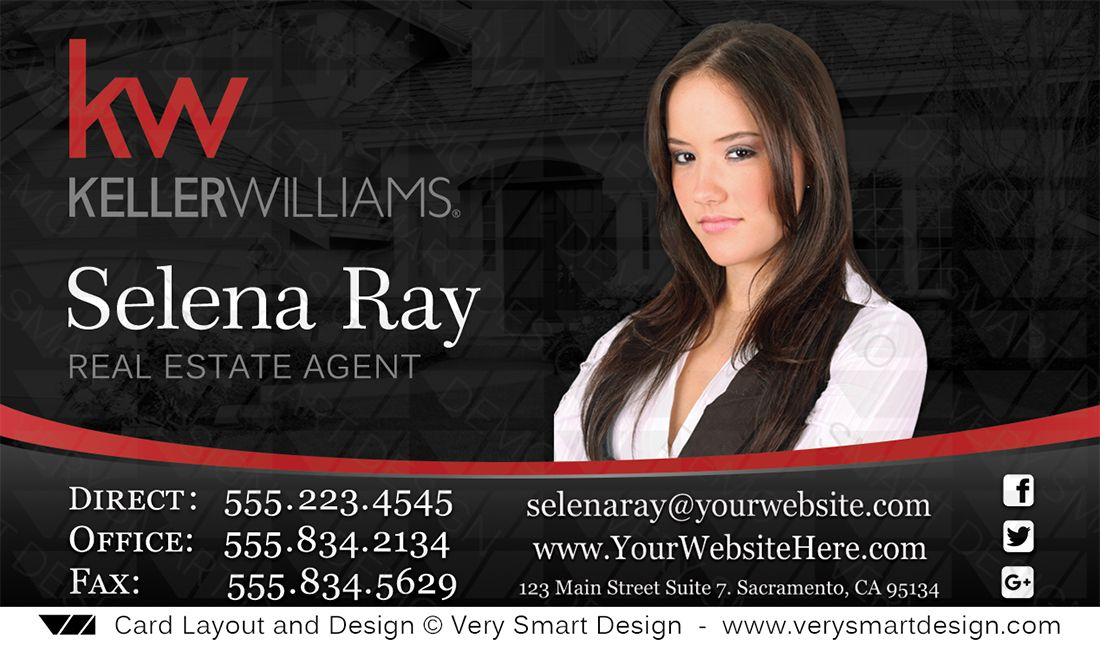 Keller Williams Realty Business Cards Templates 1c Red And Black Keller Williams Business Cards Real Estate Agent Business Cards Real Estate Business Cards