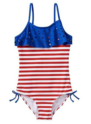 f81a6755971b3 SO® American Flag Cut-Out One-Piece Swimsuit - Girls 7-16 | Just for ...