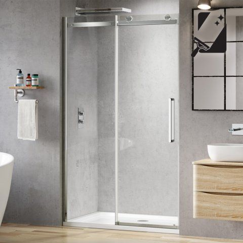 1000mm Designer Frameless Easyclean Sliding Shower Door 8mm Soak Com