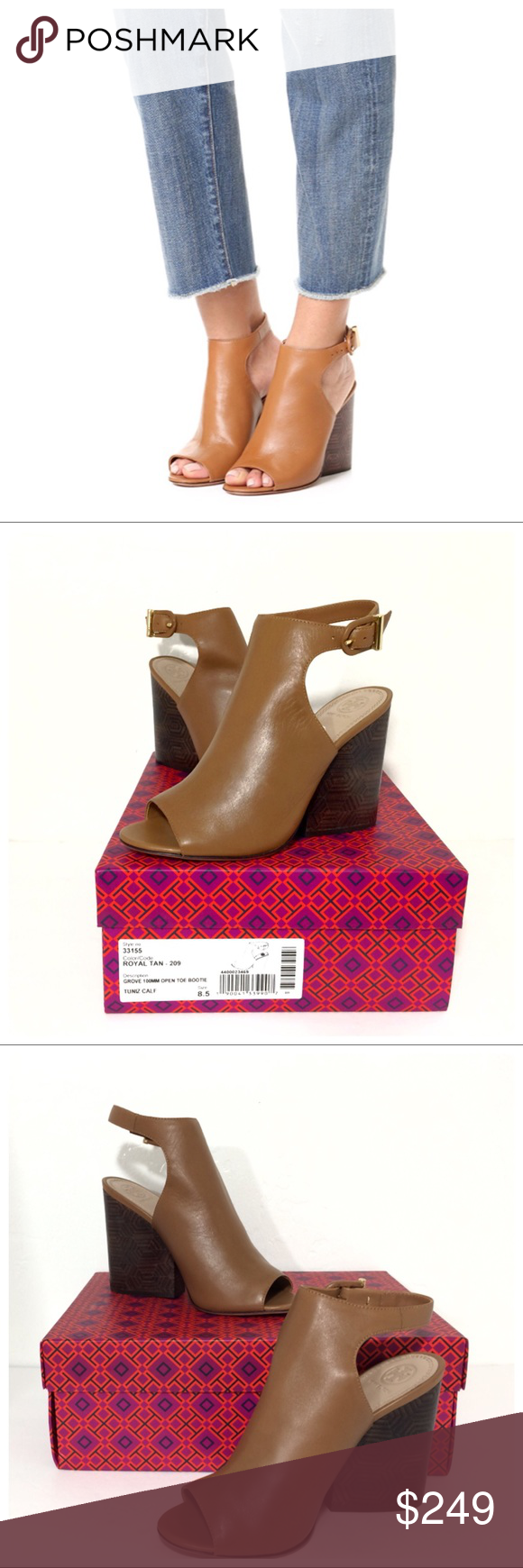 3ea85153e18f NIB Tory Burch Groove Peep Toe Leather Ankle Boots Brand new in box  gorgeous   trendy