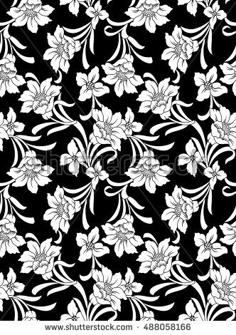 Decorative Seamless Wallpaper With White Flowers On Black