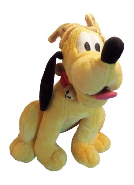 This stuffed plush Pluto is wearing antler and a jingle bells collar, making him look like a reindeer. The collar jingles when he is moved. This is great for Christmas/holiday decorations and will add that sense of enchantment to your home.