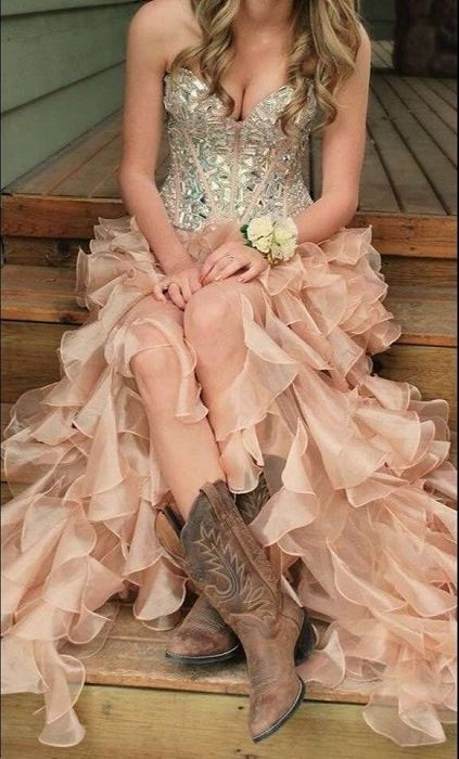 ba9498bc33f Prom Dress Sparkly Beaded Sweetheart Ruffled Champagne Organza Formal  Occasion Party Dress on Luulla