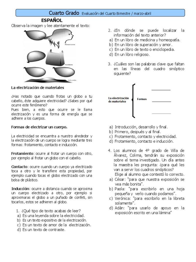 4to Grado - Bimestre 4 | Examenes | Pinterest