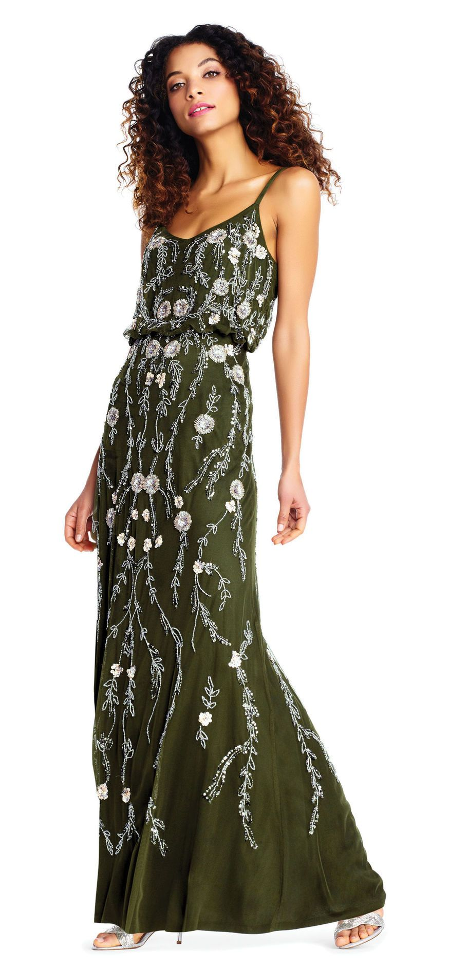 Floral Beaded Blouson Dress Bridesmaids 2 Olive Bridesmaid