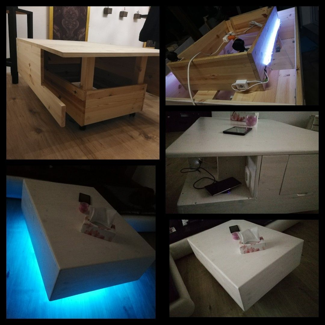 Diy Wohnzimmertisch Mit Usb Anschlussen Steckdose Bluetooth Led Beleuchtung Und Schublade Wohnzimmertisch Led Beleuchtung Beleuchtung