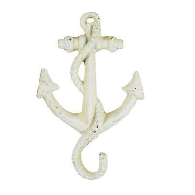 Handcrafted Nautical Decor Anchor Wall Hook Finish Antique White Wall Hooks Anchor Wall Hooks Gold Framed Mirror