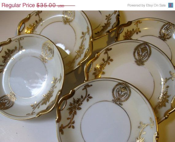 ON SALE Noritake Handpainted Gold Gilt Butter by Sisters2Vintage, $28.00
