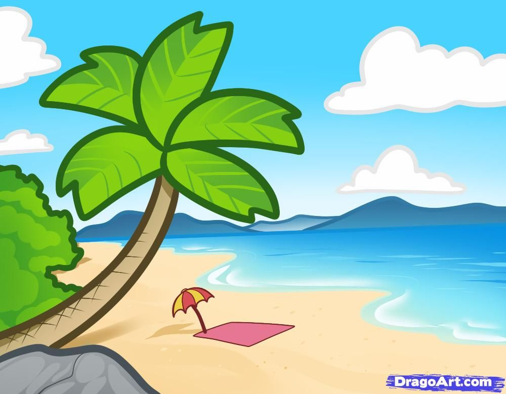 How to Draw a Beach For Kids Step by Step Landscapes Landmarks
