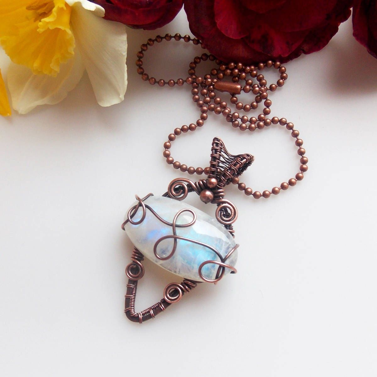 rainbow moonstone pendant-copper jewelry-wire wrapped jewelry-wire ...