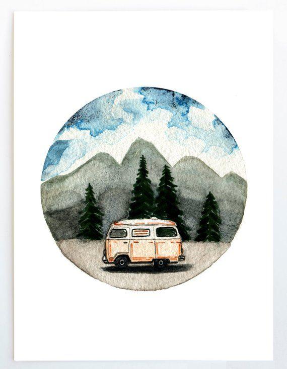 VW Bus Art Print, Watercolor Painting, Adventure, Explore, Travel Art, Medium Size
