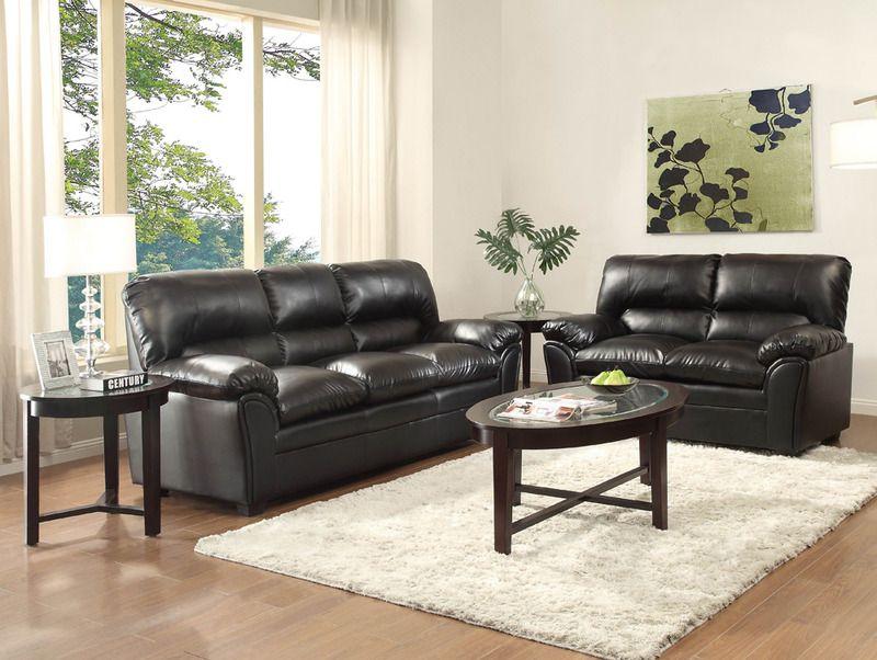 Modern Talon Black Leather Sofa Couch Loveseat Tufted Living Room Set