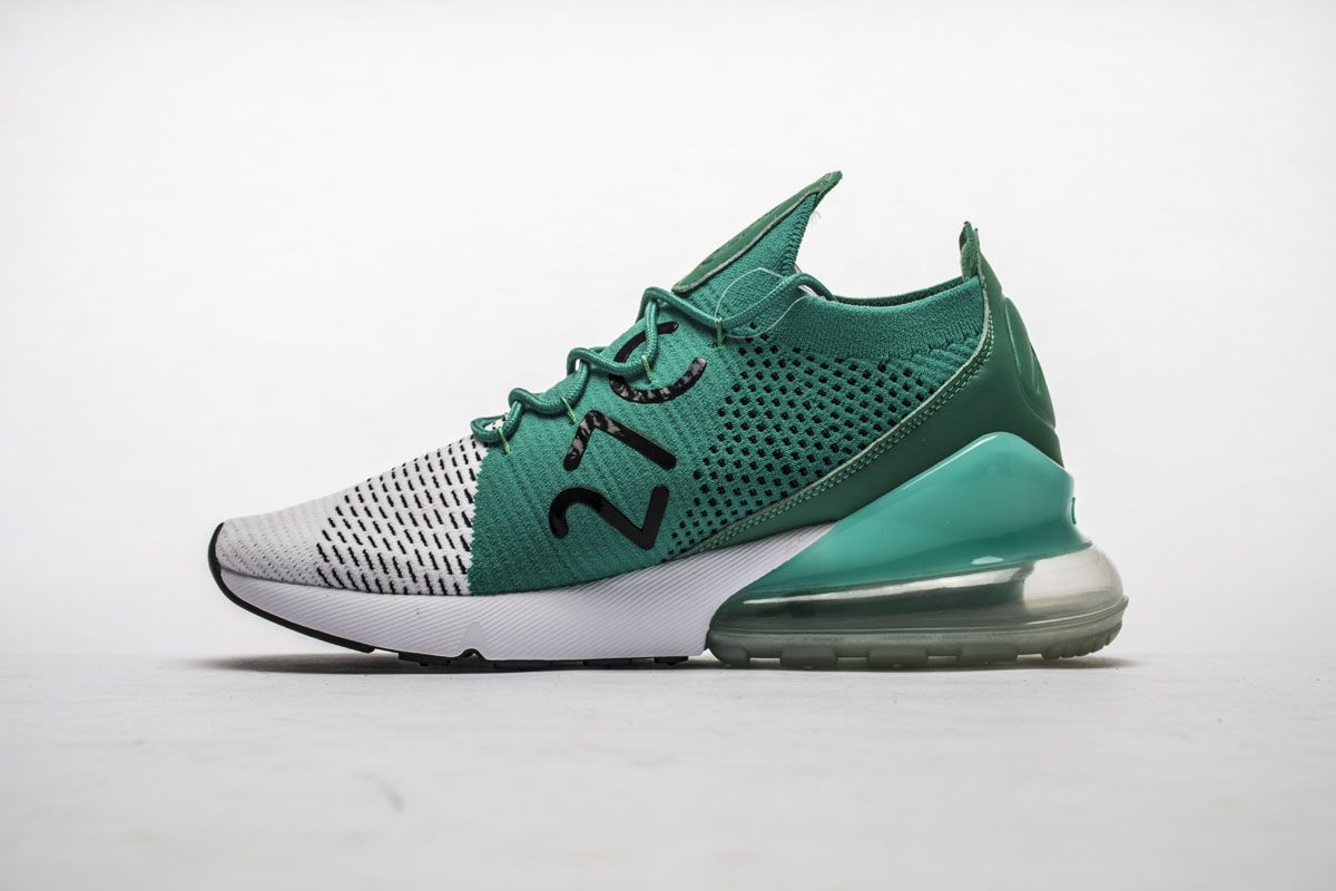 8dd72238c12 Nike Air Max 270 Flyknit AH6803-300 Clear Emerald Green White Shoes ...