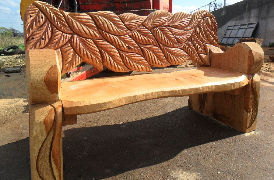Chainsaw carved wood benches andy o neill
