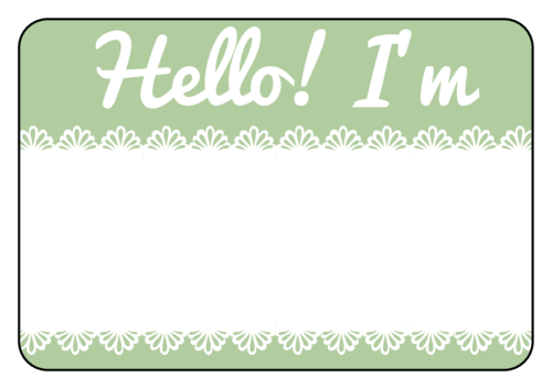Green Lace Name Tag Template For Events Name Tag Templates Tag Template Name Tags