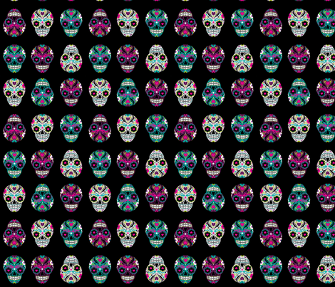 Sugar Skulls on Black fabric by indescribble on Spoonflower - custom fabric
