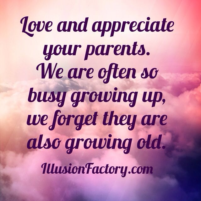 Love And Appreciate Your Parents We Are Often So Busy Growing Up