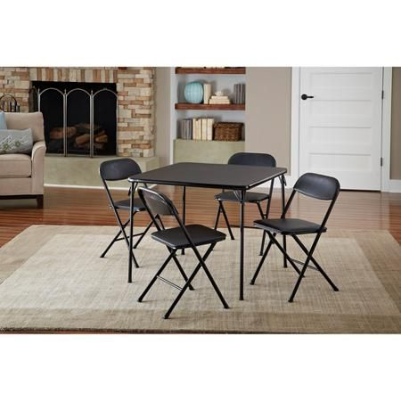 Cosco 5 Piece Card Table Set Black Walmart Com Card Table And Chairs Table And Chair Sets Card Table Set