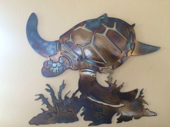 Underwater Sea Turtle Metal Wall Art Decor By Cre8ivemetaldesigns