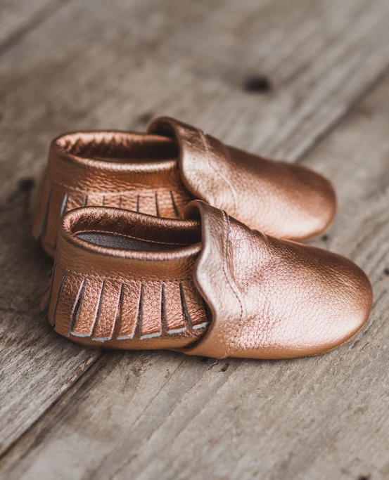 Leather baby moccasins , leather