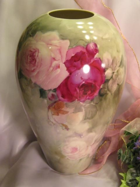 """Absolutely Stunning ~ MAGNIFICENT Willets Belleek Hand Painted Antique 14"""" Vase Large Pink and Burgundy CABBAGE ROSES Artist Signed Pristine Condition Circa 1890's"""