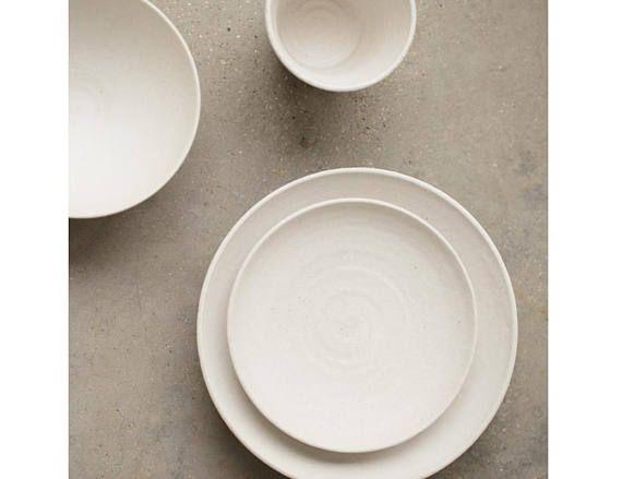 White Pottery Dinnerware Japanese Handmade Handthrowing Ceramic Dining Set Http Etsy Me 2xsj2ed Mini White Pottery White Dining Set Plates And Bowls