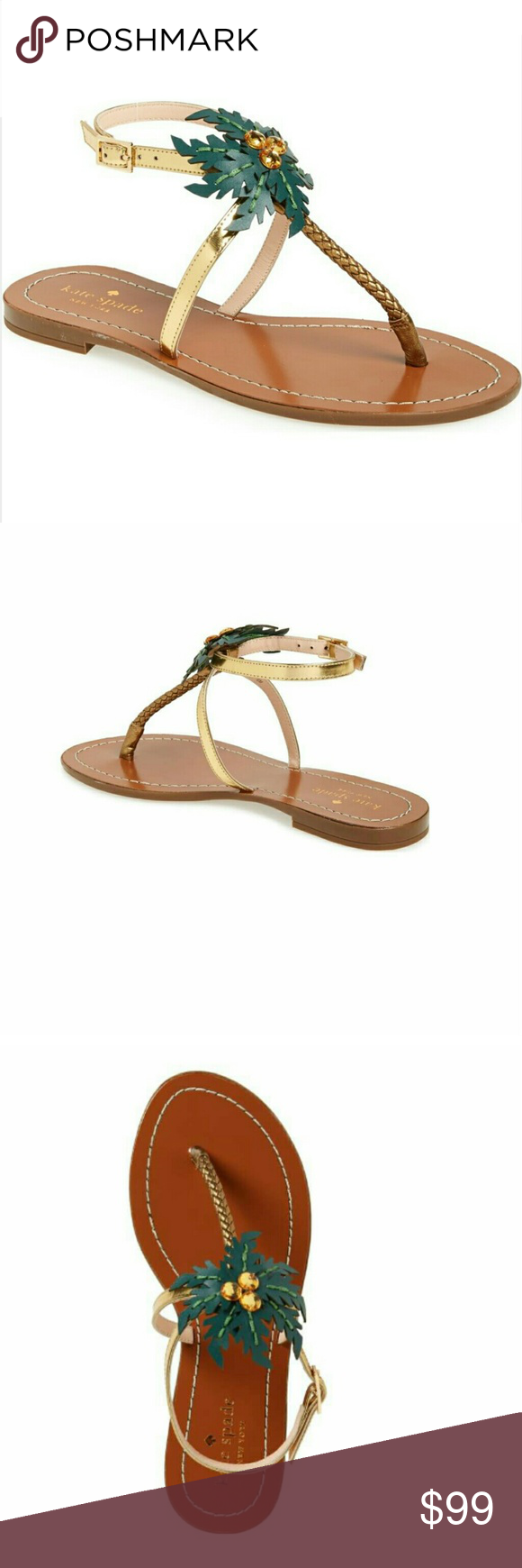 aa9ccb9f2cfd Kate spade new york solana palm tree sandal NWOT Size 9 (eb) inspired by  the tropics and topped with crystal coconut embellished leather fronds