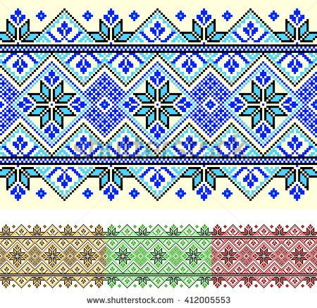 cross-stitch embroidery in ukraine ethnic style. various colors for more projects